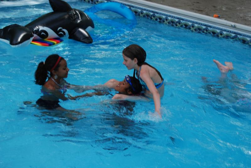 Swimming with 2 of my BFF's at my party!